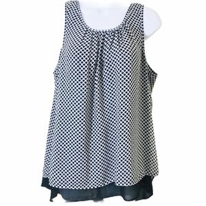 Daniel Rainn Polka Dot Overlay Career Top L (P)